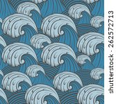 seamless pattern with sea waves. | Shutterstock .eps vector #262572713