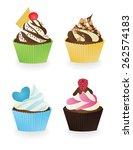set of cupcakes 3 | Shutterstock .eps vector #262574183