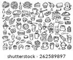 food hand drawn set | Shutterstock .eps vector #262589897