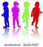girls silhouette happy | Shutterstock .eps vector #262612097