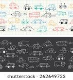 cars doodles seamless  | Shutterstock .eps vector #262649723