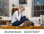 young woman working from home...   Shutterstock . vector #262673207
