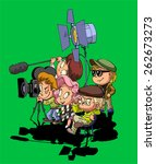 film maker and working staff on ...   Shutterstock .eps vector #262673273