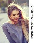 portrait of happy blonde girl... | Shutterstock . vector #262686227