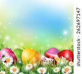 easter background with colorful ... | Shutterstock .eps vector #262697147