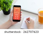 women hands holding phone with... | Shutterstock . vector #262707623
