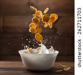 falling corn flakes with milk... | Shutterstock . vector #262711703