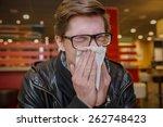 sick student blowing his nose... | Shutterstock . vector #262748423