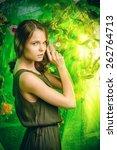 beautiful young woman  among... | Shutterstock . vector #262764713