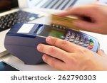 hand swiping credit card in... | Shutterstock . vector #262790303