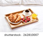 breakfast in bed with coffee ... | Shutterstock . vector #262810007