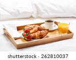 breakfast in bed with coffee ... | Shutterstock . vector #262810037