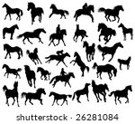 big set of  horses silhouettes... | Shutterstock .eps vector #26281084