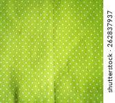 White Polka Dots On Green...