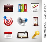 realistic business icons set...