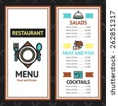 restaurant menu template with... | Shutterstock .eps vector #262851317