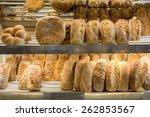lots of fresh bread loafs on a...   Shutterstock . vector #262853567