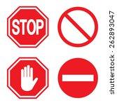 stop sign  set. vector... | Shutterstock .eps vector #262893047