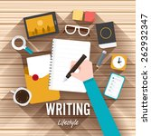 top view writing marketing flat ... | Shutterstock .eps vector #262932347