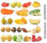 set of fruit isolated on white... | Shutterstock . vector #262985693