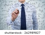young businessman drawing... | Shutterstock . vector #262989827