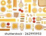 various pasta on white... | Shutterstock . vector #262995953