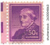 Small photo of UNITED STATES - CIRCA 1955: A stamp printed in the United States, shows Susan B. Anthony (1820-1906) social reformer and feminist, circa 1955