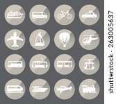 transportation circle icon set. ... | Shutterstock .eps vector #263005637