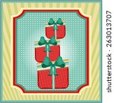 three red gifts with pattern... | Shutterstock .eps vector #263013707