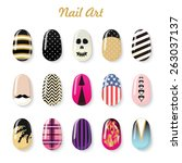 nails art vector templates and... | Shutterstock .eps vector #263037137