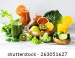 fresh healthy detox smoothie... | Shutterstock . vector #263051627