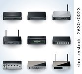 network equipment icons. modems ...