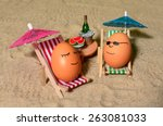 Easter Funny Eggs Sitting On A...