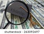 magnified graduation mortar... | Shutterstock . vector #263092697