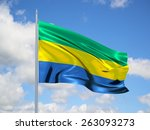 gabon 3d flag floating in the... | Shutterstock . vector #263093273