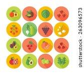 set of flat design icons for... | Shutterstock .eps vector #263096573