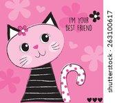 cute pink cat vector... | Shutterstock .eps vector #263100617