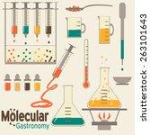 molecular gastronomy flat set.... | Shutterstock .eps vector #263101643
