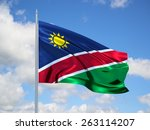 namibia 3d flag floating in the ... | Shutterstock . vector #263114207