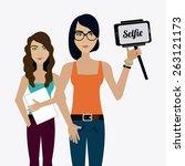 selfie design over white... | Shutterstock .eps vector #263121173