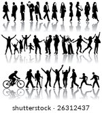 vector silhouettes of people in ...   Shutterstock .eps vector #26312437