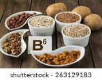 ingredients rich in vitamin b6  ... | Shutterstock . vector #263129183