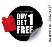 buy 1 get 1 free sticker and... | Shutterstock . vector #263146967