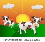happy cows on the meadow with... | Shutterstock .eps vector #263161283