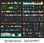 elements of modern city night.... | Shutterstock .eps vector #263194997