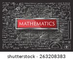 hand drawn mathematics on... | Shutterstock .eps vector #263208383