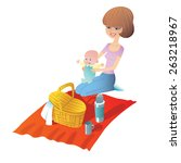 young mother with baby on a... | Shutterstock . vector #263218967