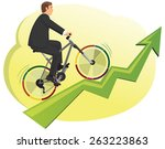 businessman rides a bike with... | Shutterstock .eps vector #263223863
