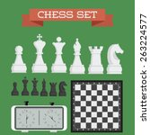 set of named chess piece vector ... | Shutterstock .eps vector #263224577