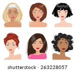 set of women with different... | Shutterstock .eps vector #263228057
